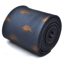 navy tie with stegosaurus dinosaur embroidered design with signature floral desi