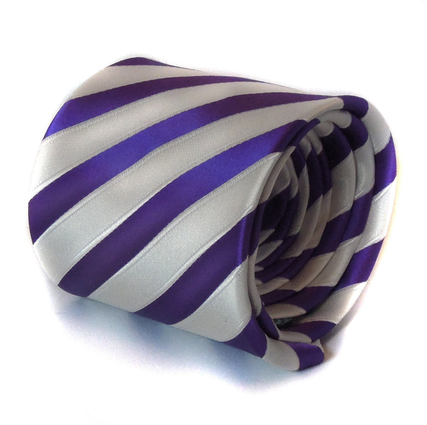purple and white striped tie with signature floral design to rear by Frederick T