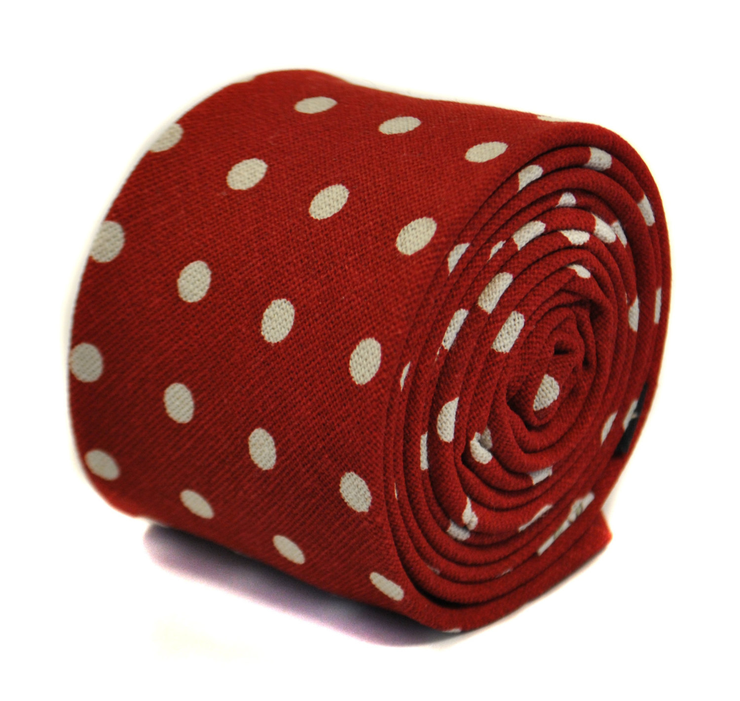 red and white polka spot tie 100% cotton by Frederick Thomas FT2174