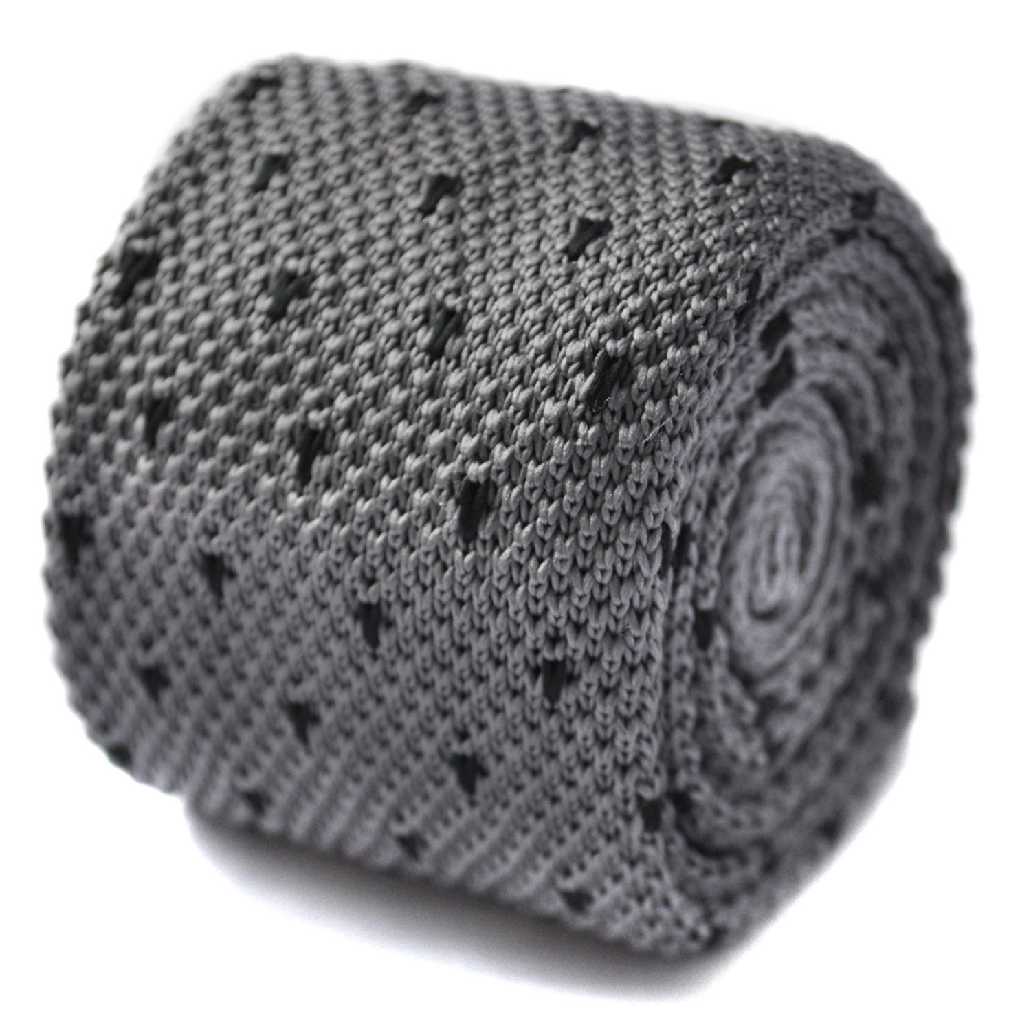 knitted grey tie with black spotted skinny tie by Frederick Thomas FT1583