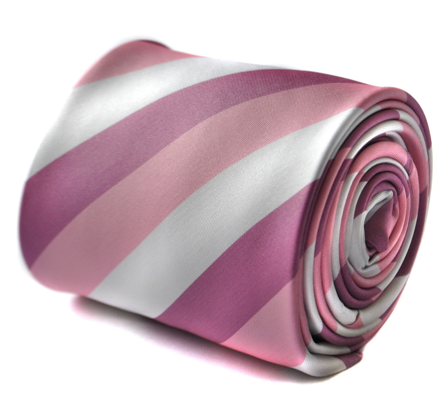 pink, purple and white striped tie with signature floral design to the rear by F