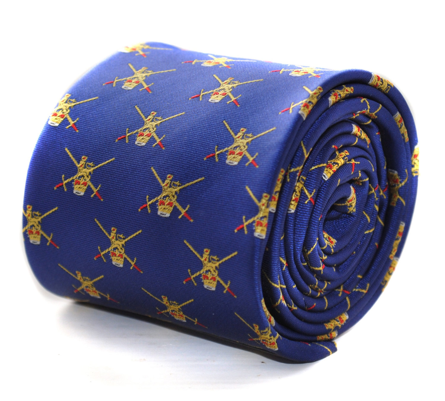 royal blue tie with Army Insigna embroidered design with signature floral design