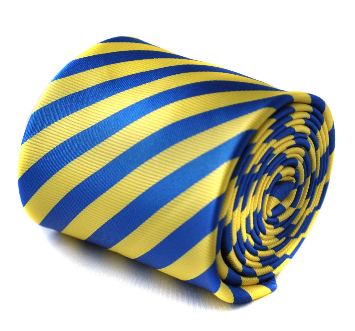 royal blue and yellow striped tie with signature floral design to the rear by Fr