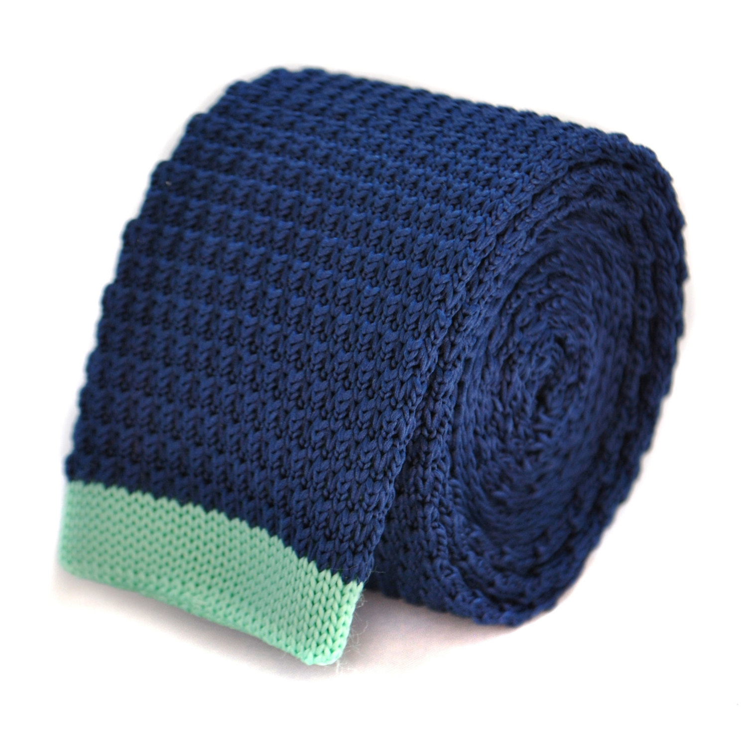 navy blue skinny knitted tie with mint pale green tip by Frederick Thomas FT2019