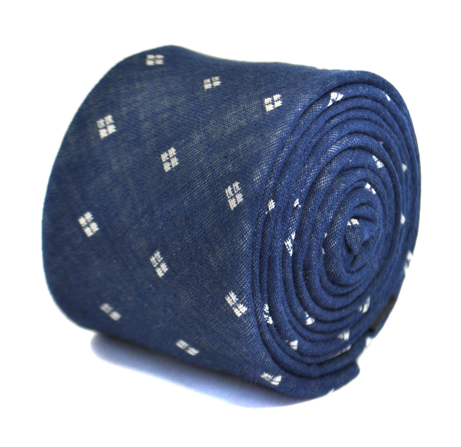 denim blue and white spotted design 100% cotton tie by Frederick Thomas FT2173