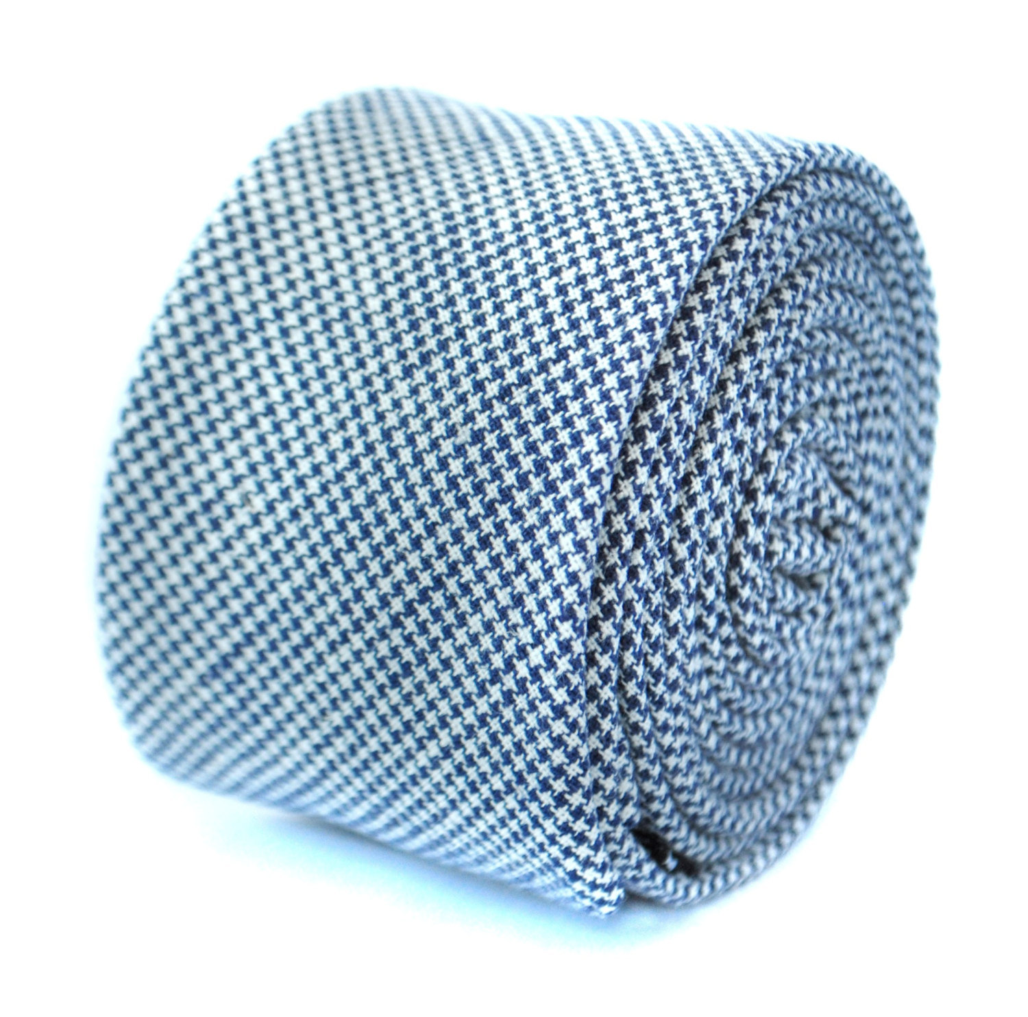 skinny navy and white dogstooth checked cotton tie by Frederick Thomas FT1958