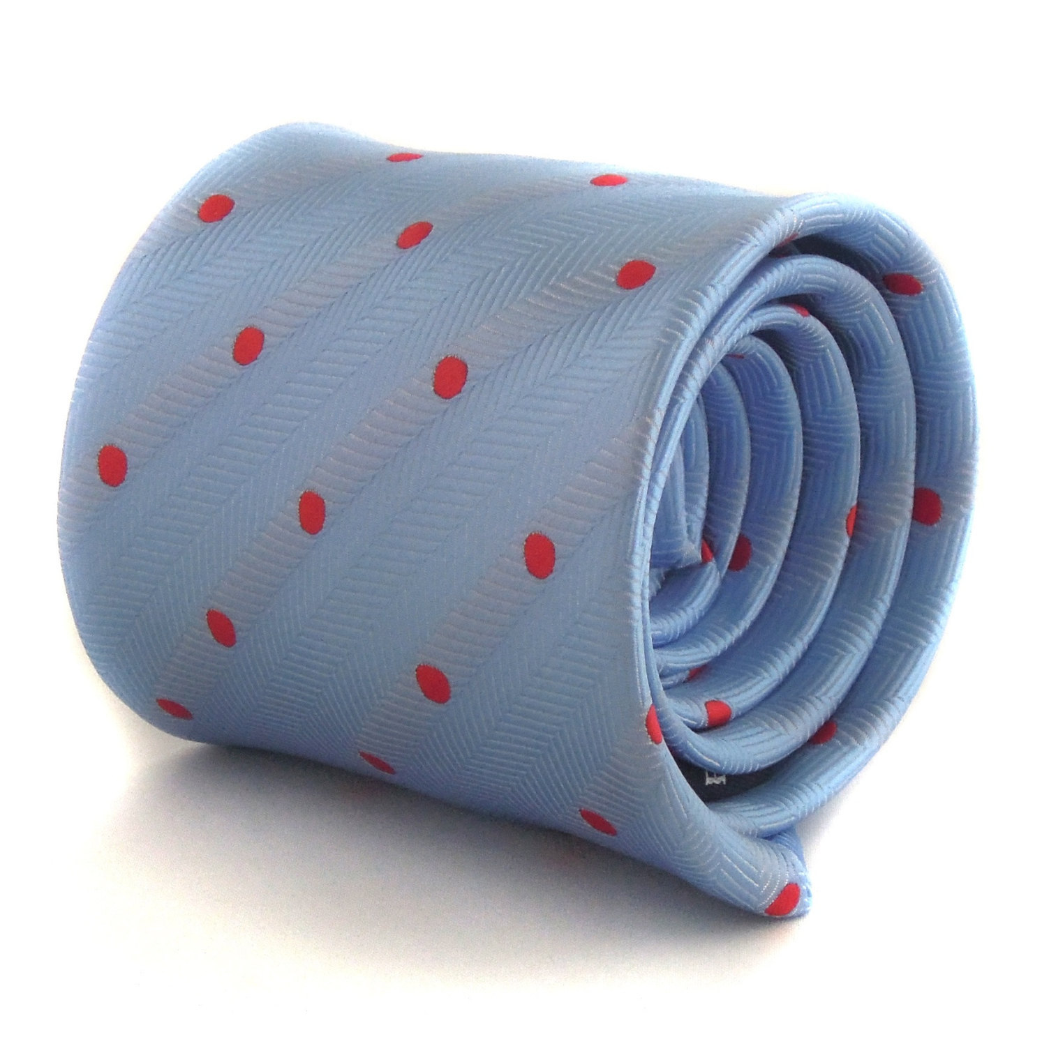 light blue tie with red spots and signature floral design to rear by Frederick T