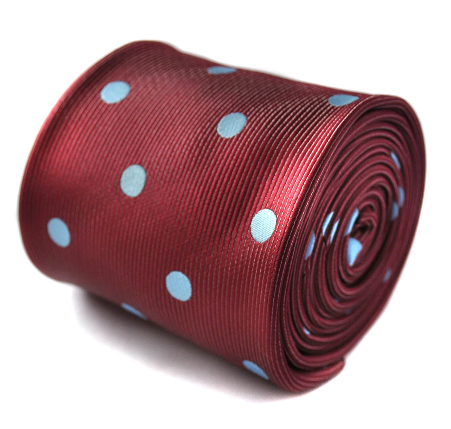 maroon and grey polka spot tie with signature floral design to the rear by Frede