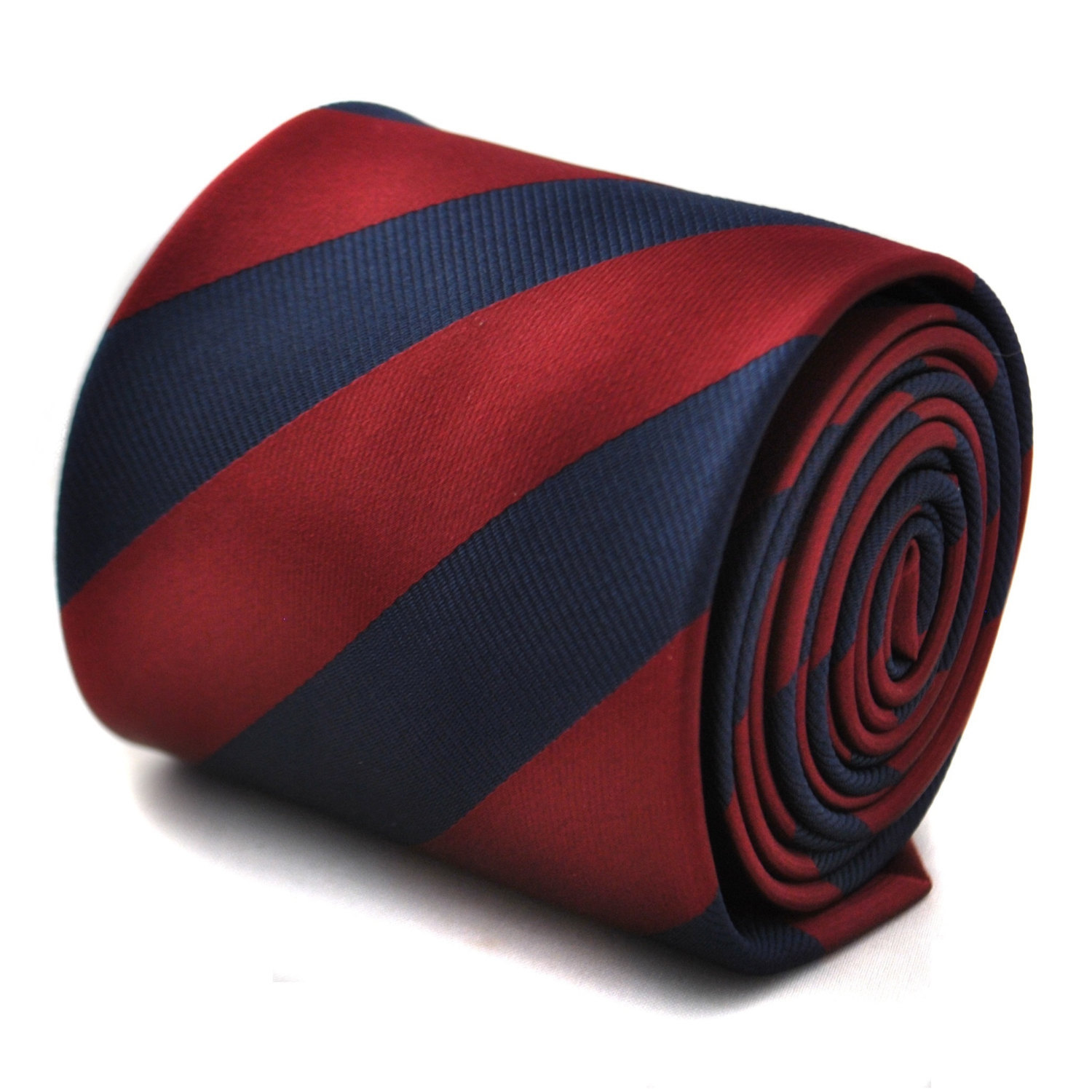 Maroon and navy barber striped tie with signature floral design to the rear by F