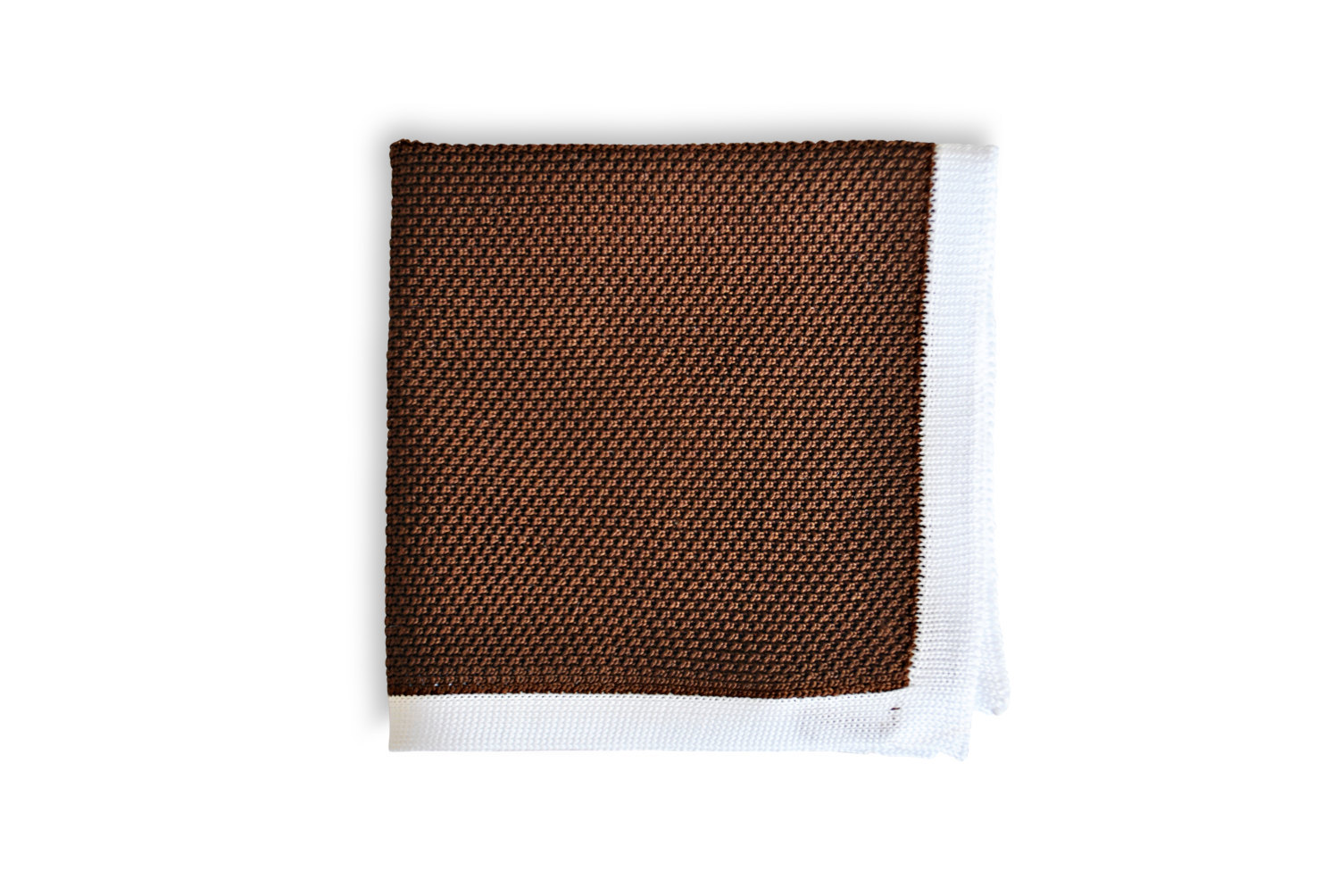 Frederick Thomas knitted Dark Brown with White Edging pocket square with white e