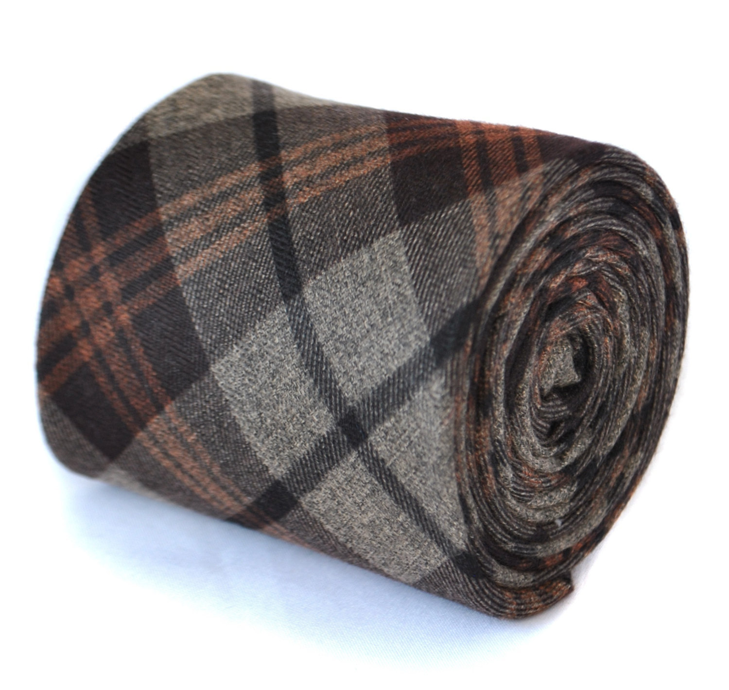 skinny brown 100% wool tweed check tie by Frederick Thomas FT2080