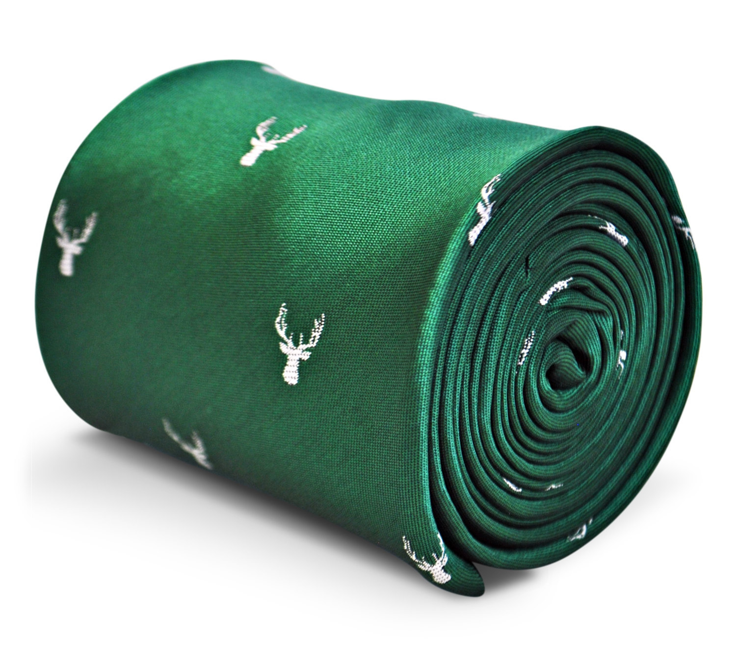green tie with white deer head design with signature floral design to rear by Fr