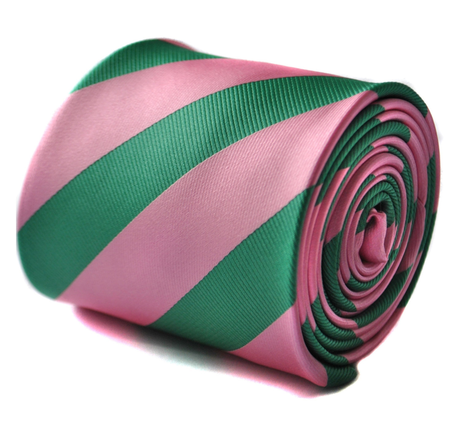 Green and pink barber striped tie with floral design to the rear by Frederick Th