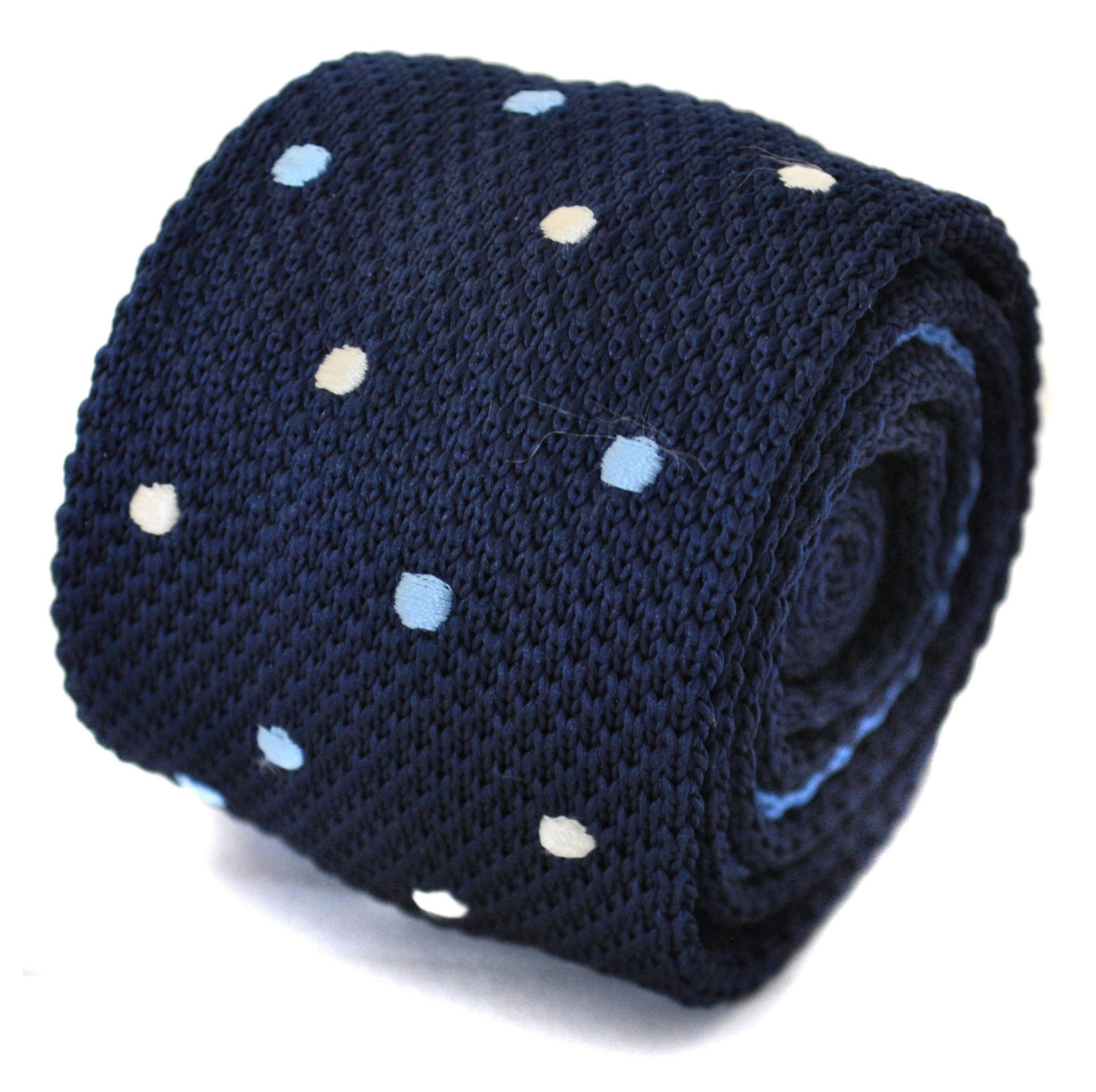 knitted navy with blue and white spotty skinny tie by Frederick Thomas FT1181