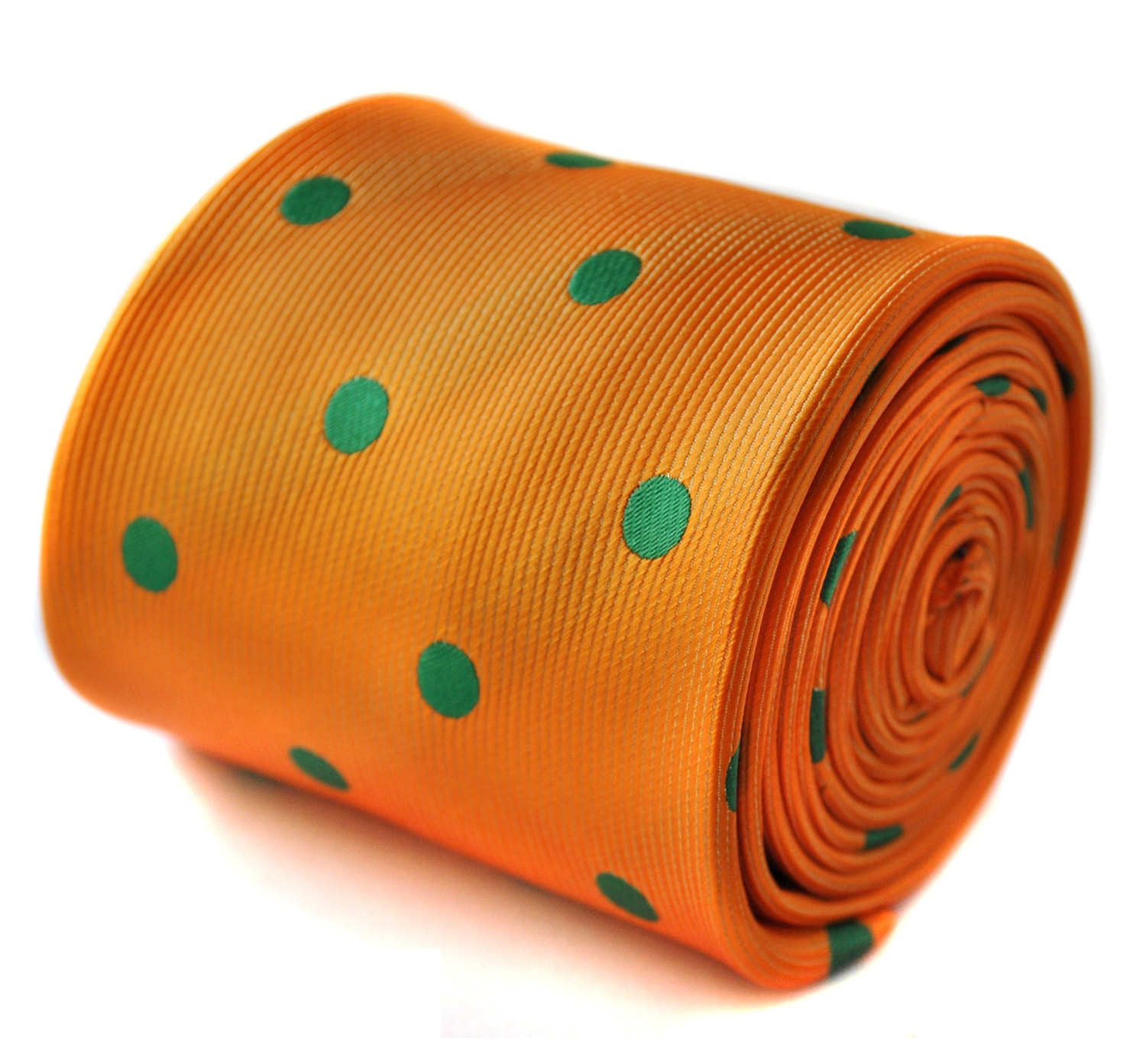 orange and green polka spot tie with signature floral design to the rear by Fred