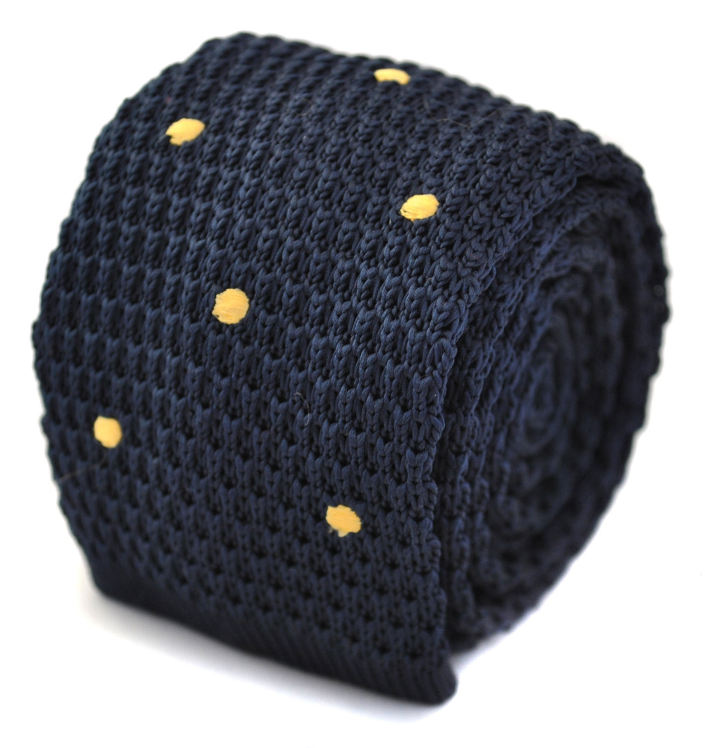 knitted navy and gold spotted skinny tie by Frederick Thomas FT1167