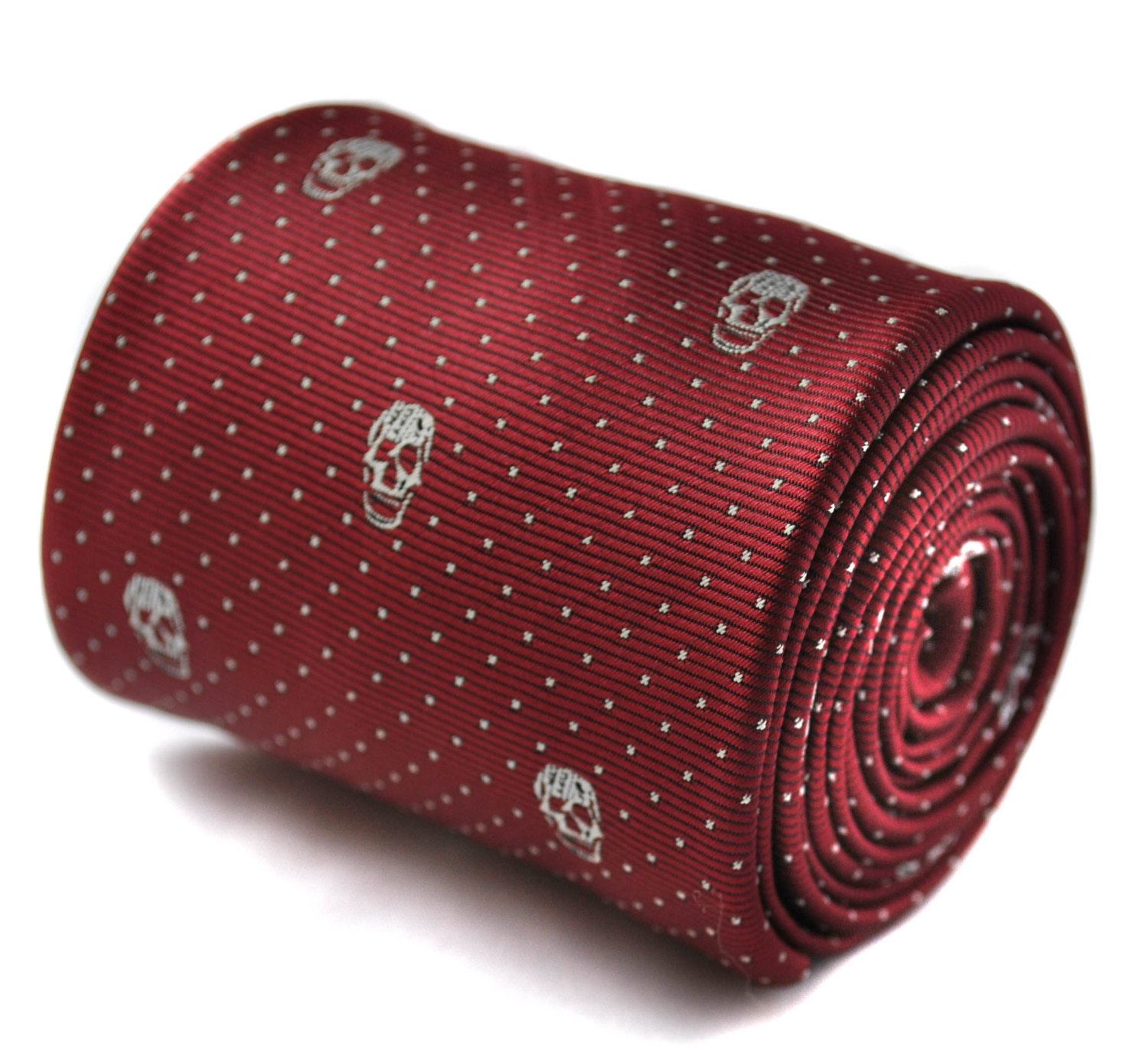 maroon skulls design tie with signature floral design to rear by Frederick Thoma