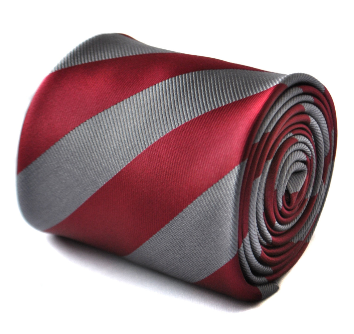 Maroon red and silver barber striped tie with signature floral design to the rea