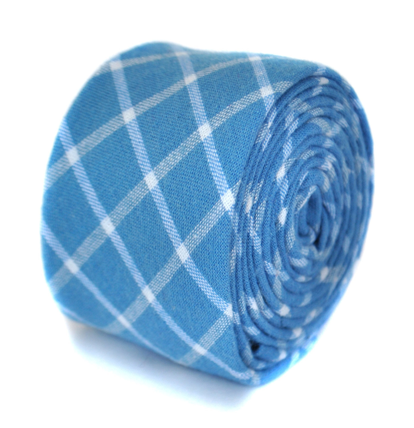 skinny light blue checked wool tie by Frederick Thomas FT1946