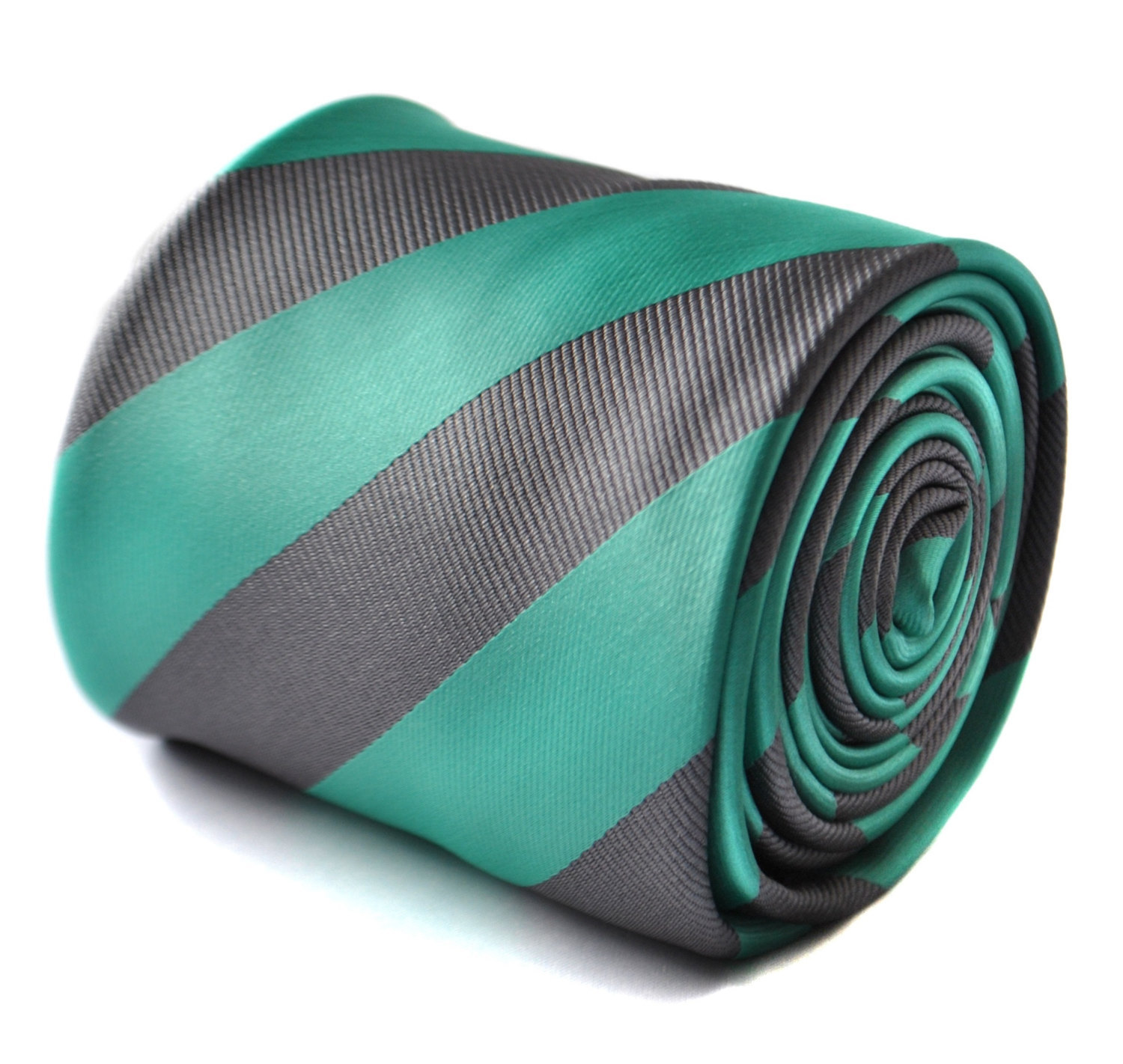 Sea green and silver grey barber striped tie with signature floral design to the