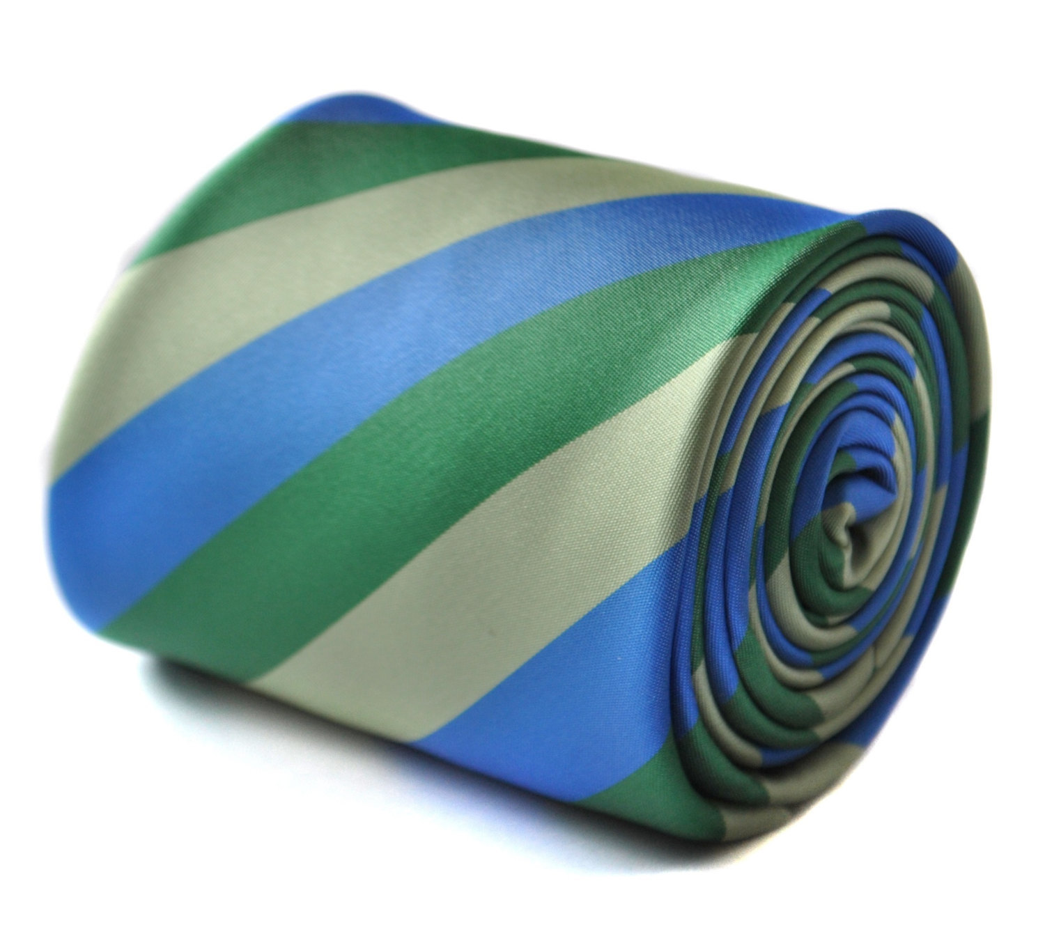 green and royal blue tie with signature floral design to the rear by Frederick T