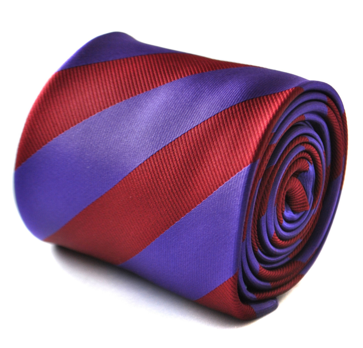 Maroon red and cadbury purple barber striped tie with signature floral design to