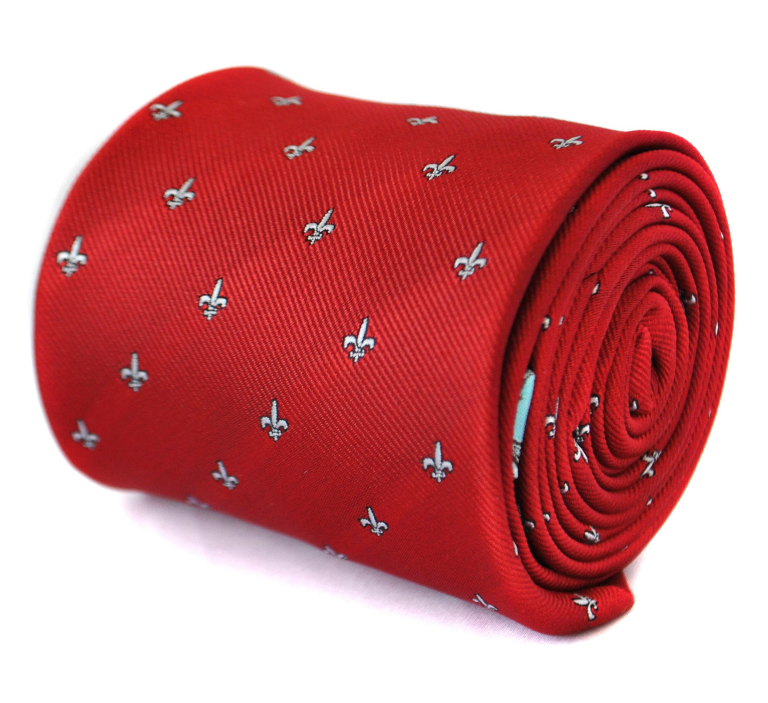 red tie with fleur de lis design with signature floral design to rear by Frederi