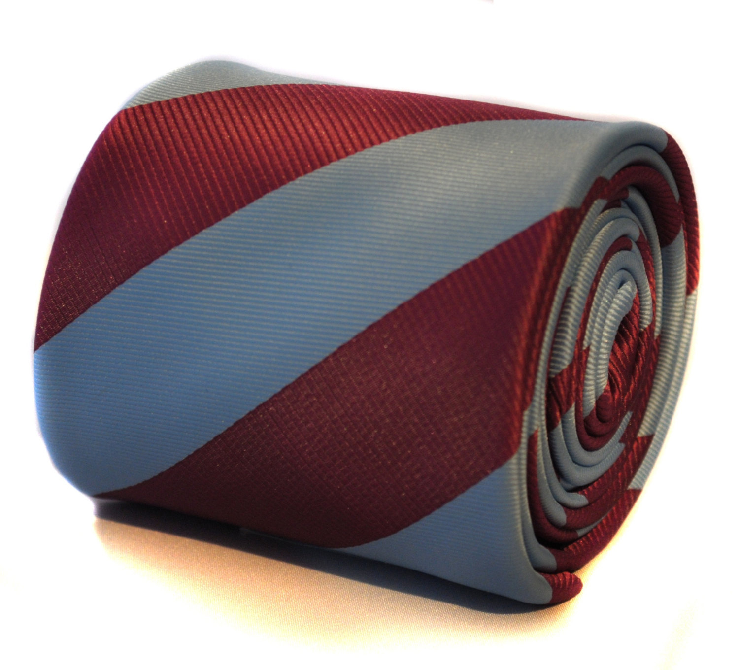 burgundy and light blue barber tie with signature floral design to the rear by F