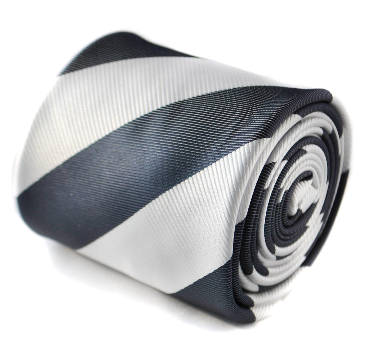 charcoal grey and white barber striped tie with floral design to the rear by Fre