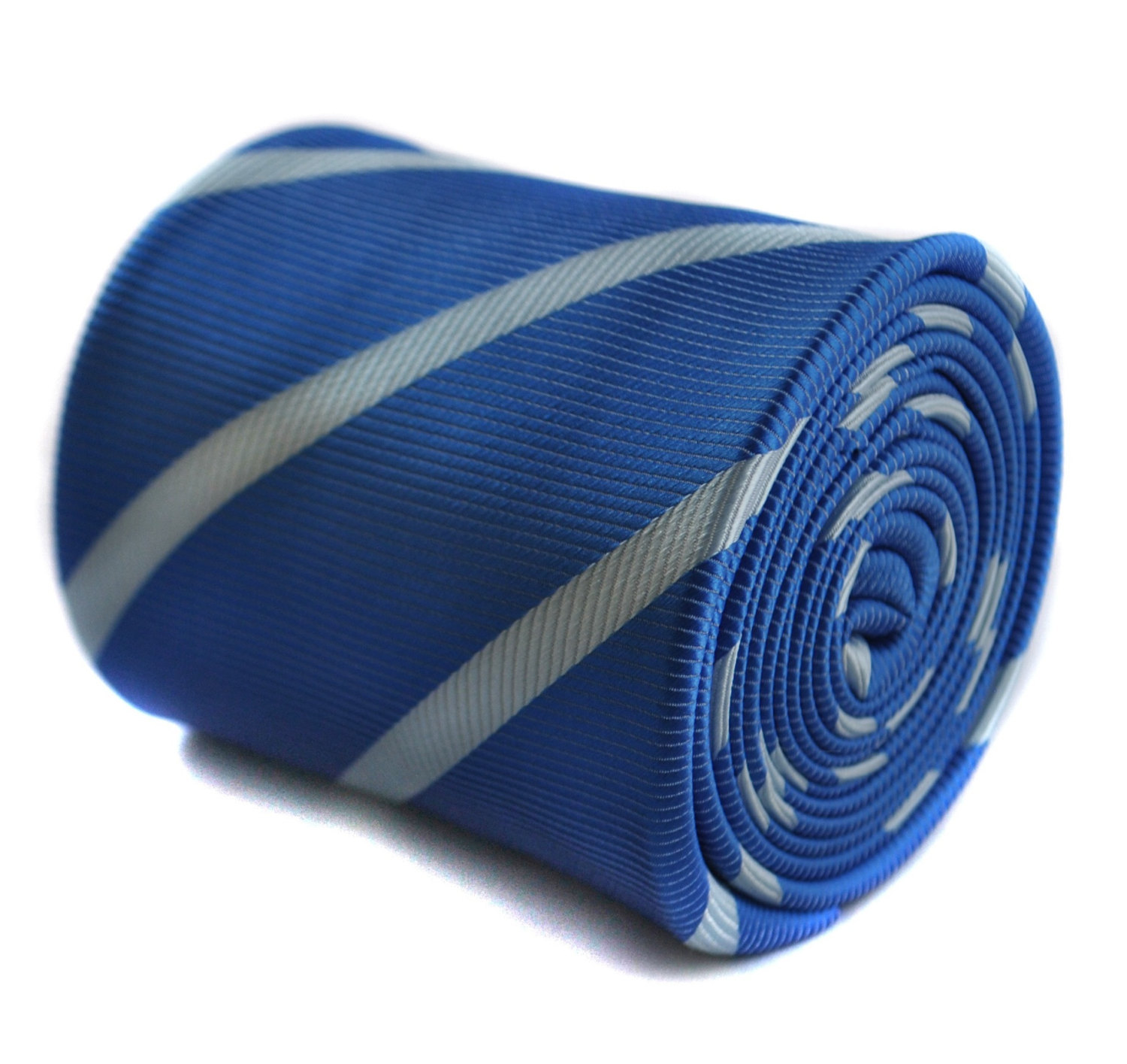 royal blue and light blue club tie with floral design to the rear by Frederick T