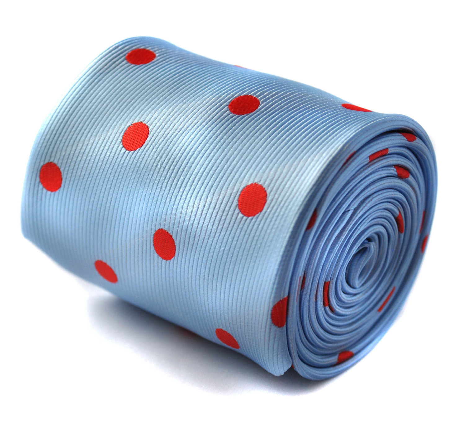 light blue and red polka spot tie with signature floral design to the rear by Fr