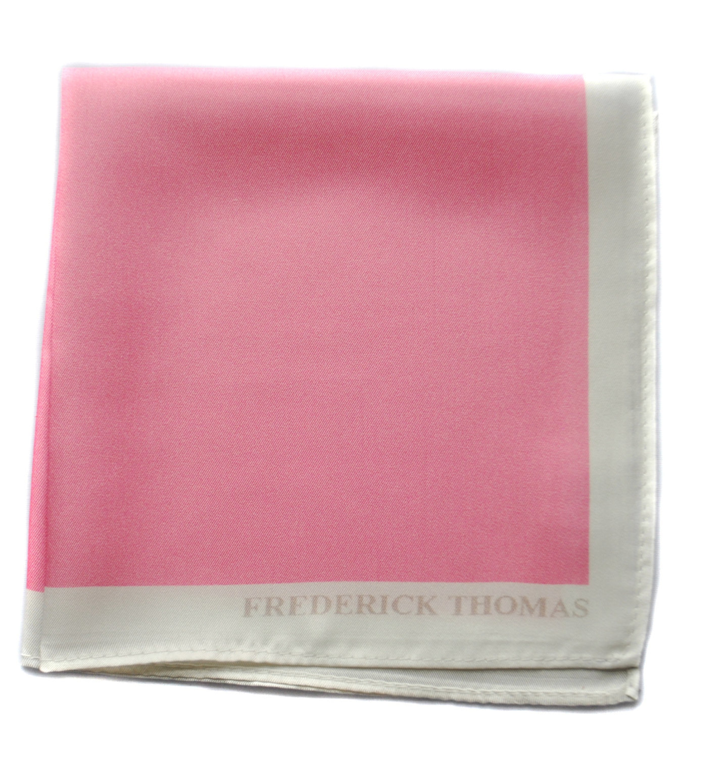 Frederick Thomas pale pink pocket square with white edging FT1666