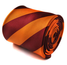 burnt orange and burgundy barber striped mens tie by Frederick Thomas FT1432