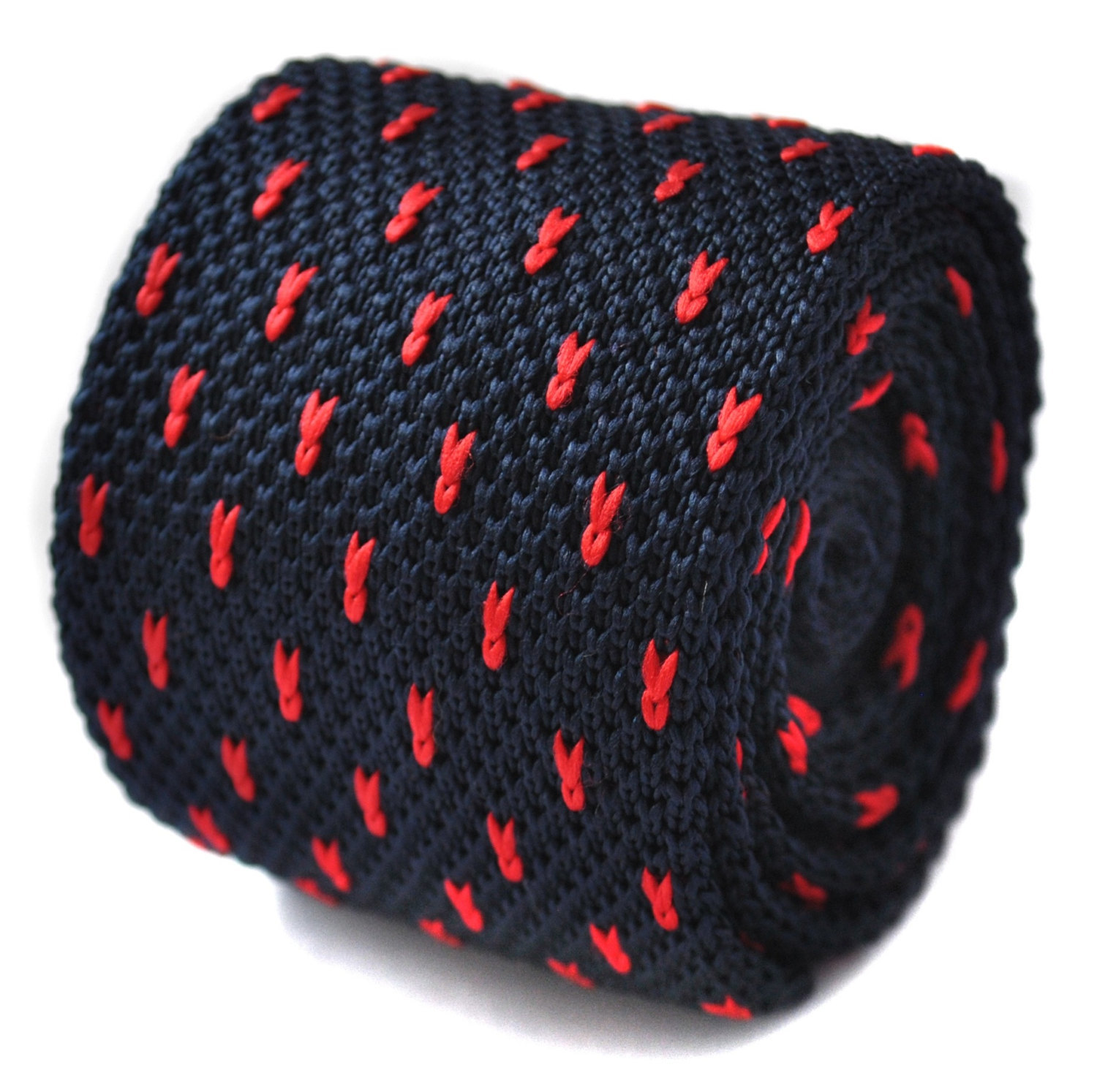knitted navy and red pin spotted skinny tie by Frederick Thomas FT1586