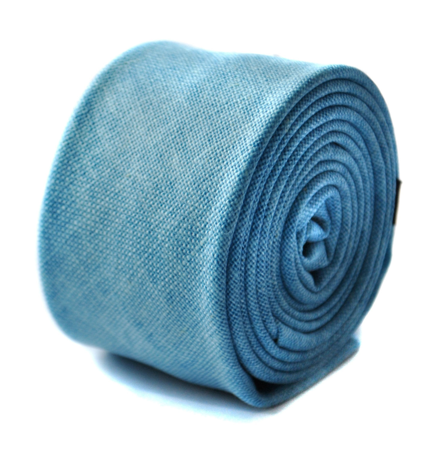 sky blue skinny linen textured tie by Frederick Thomas FT1646