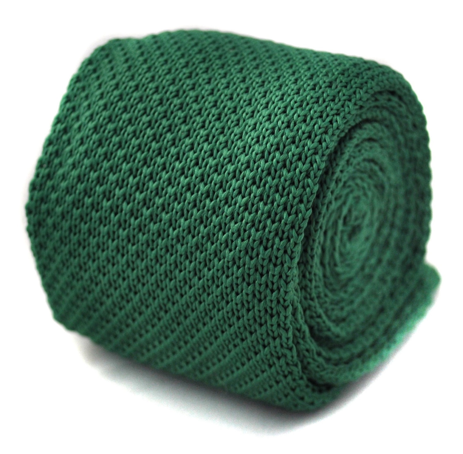 Plain dark green knitted skinny tie with flat end by Frederick Thomas FT266