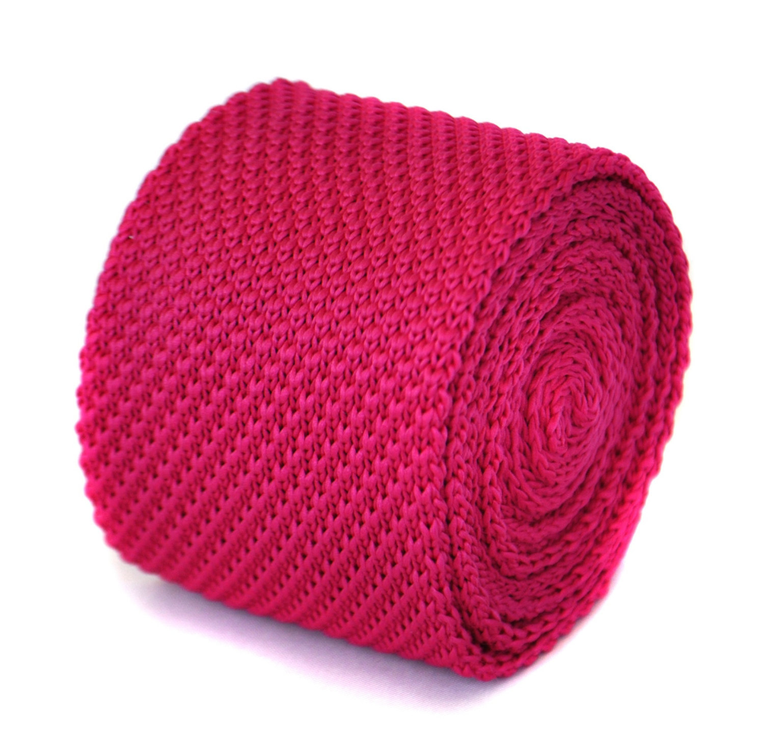 skinny bright fuchsia pink plain knitted tie by Frederick Thomas FT1854