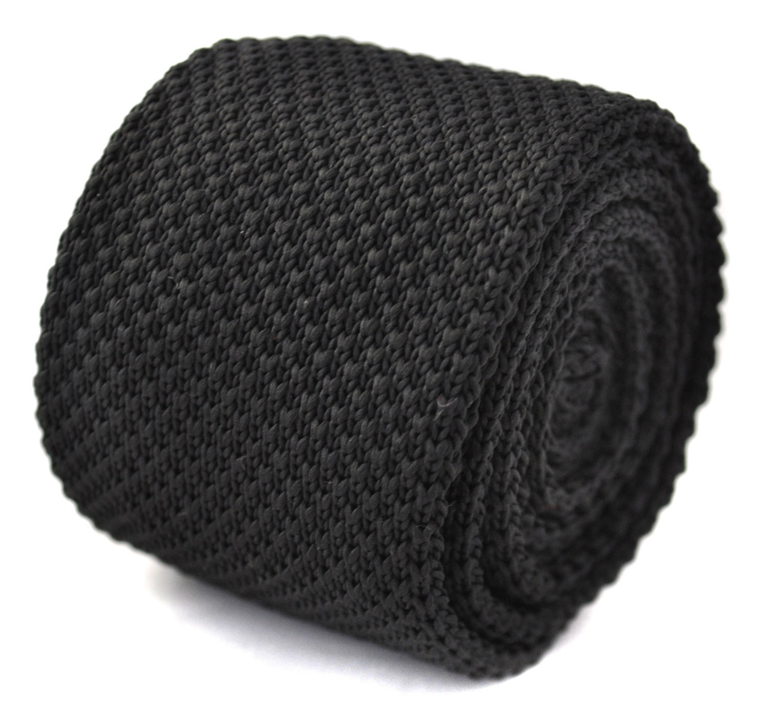 plain black skinny knitted tie with flat end by Frederick Thomas FT260