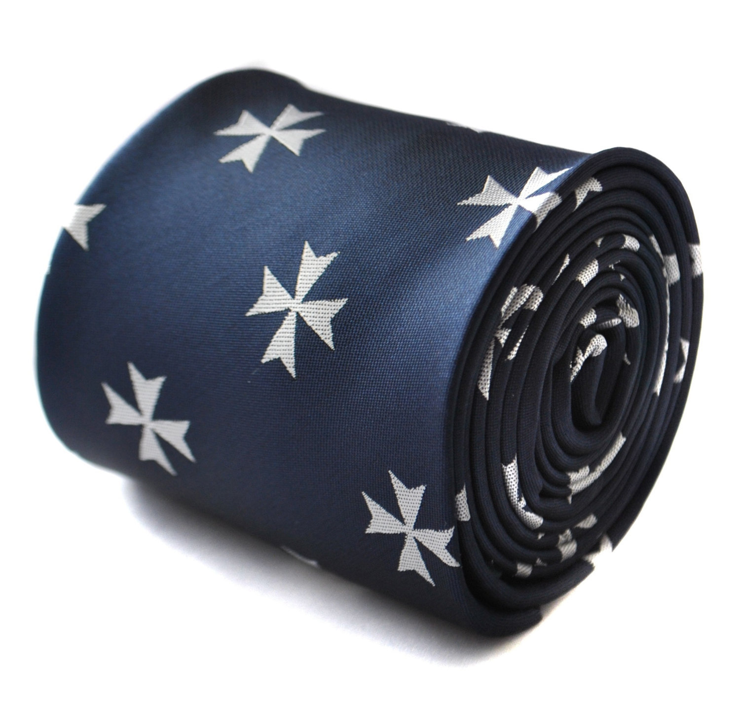 navy tie with victoria cross embroidered design with signature floral design to