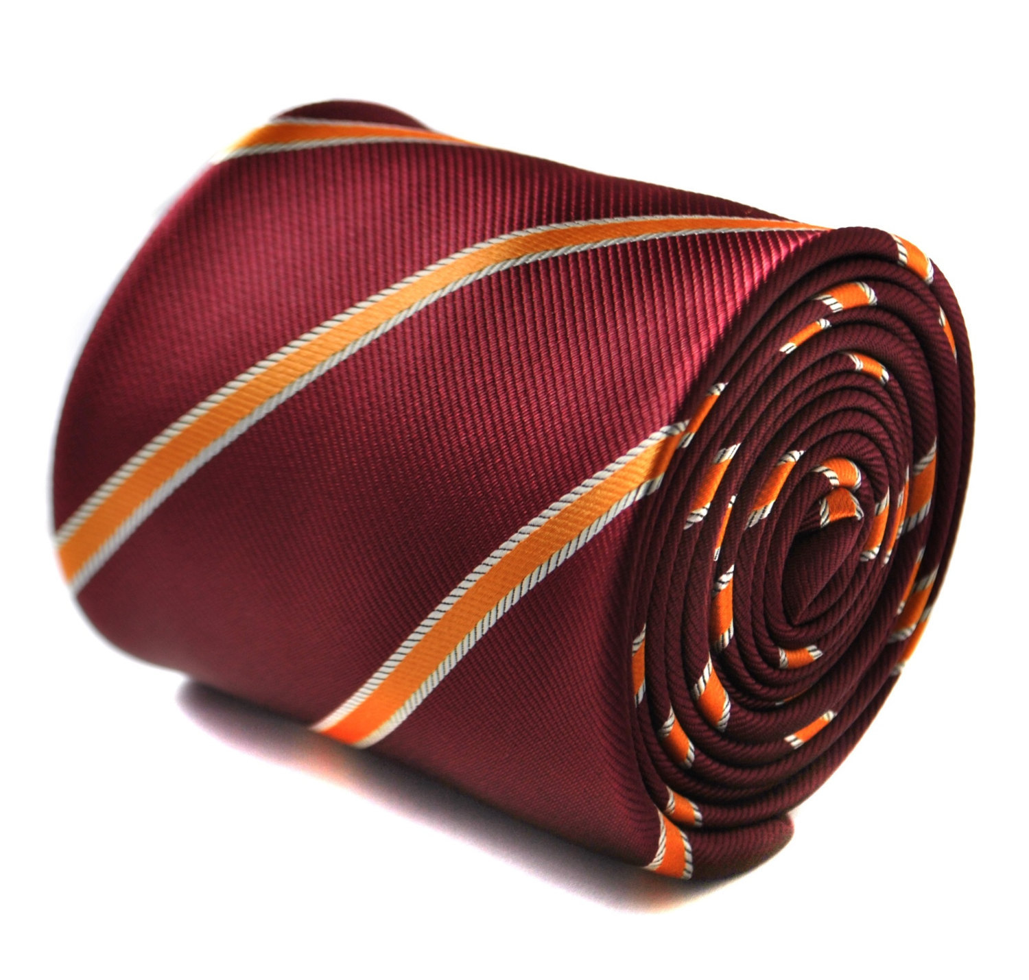 maroon and orange club striped tie with signature floral design to the rear by F