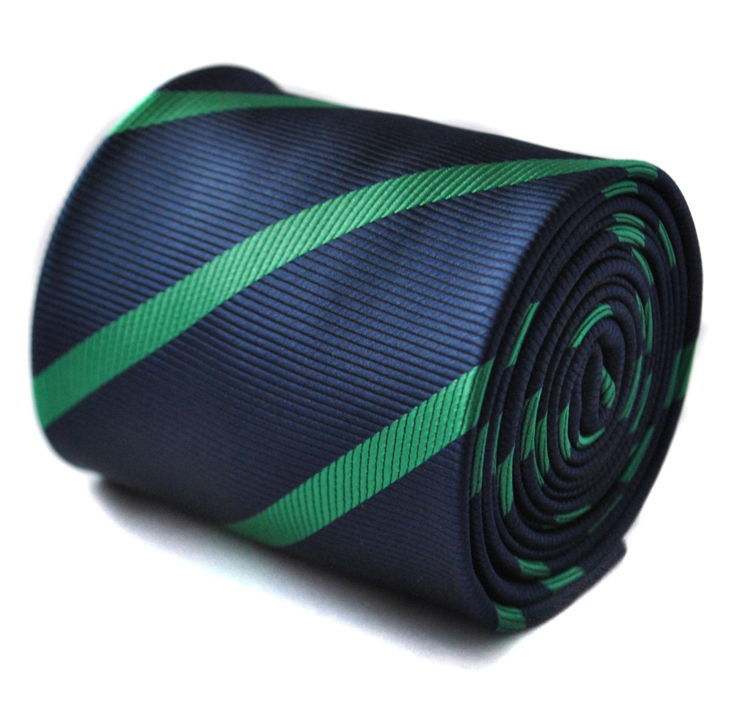 navy and dark green club striped tie with floral design to the rear by Frederick