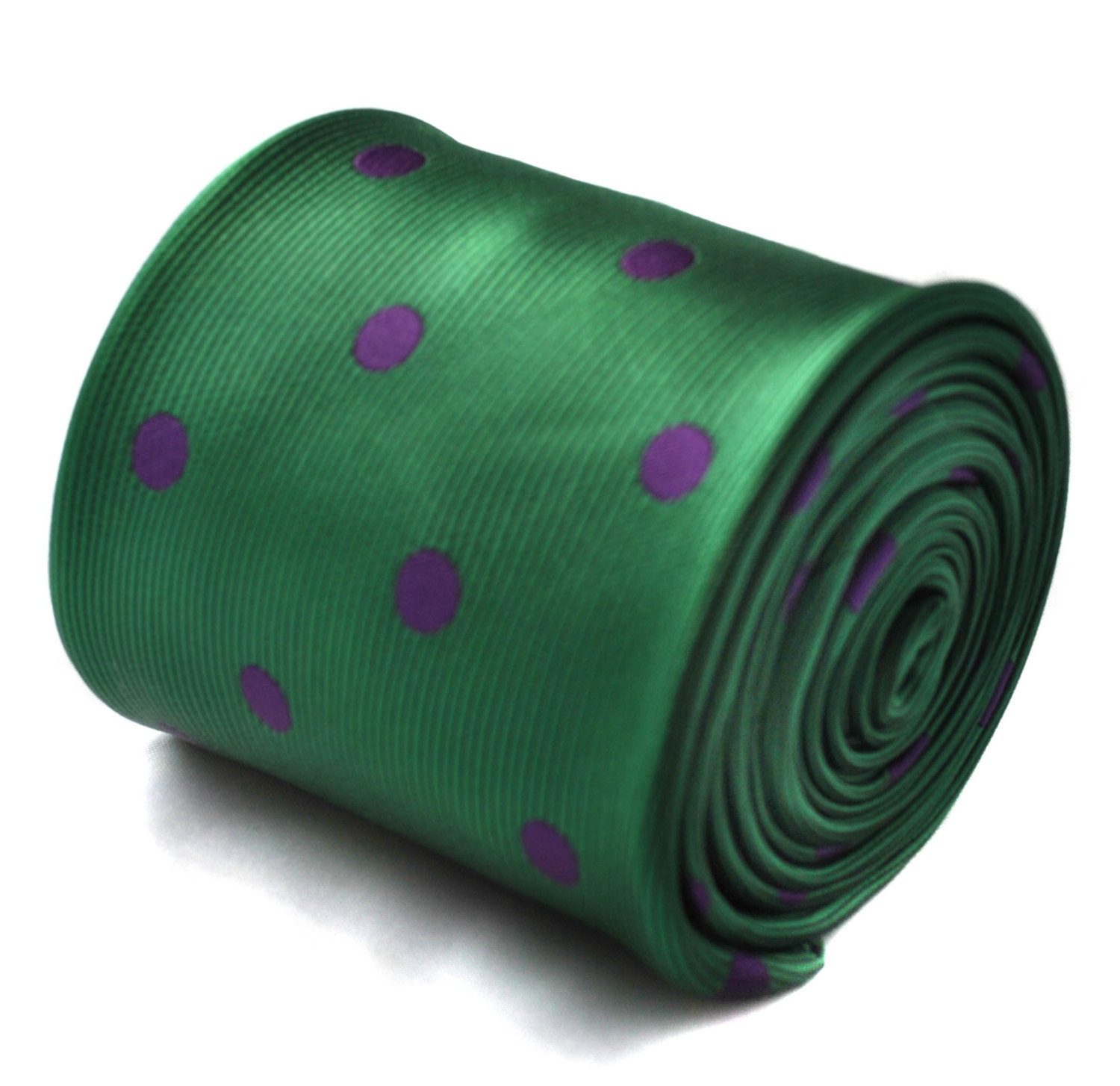 green and purple polka spot tie with signature floral design to the rear by Fred