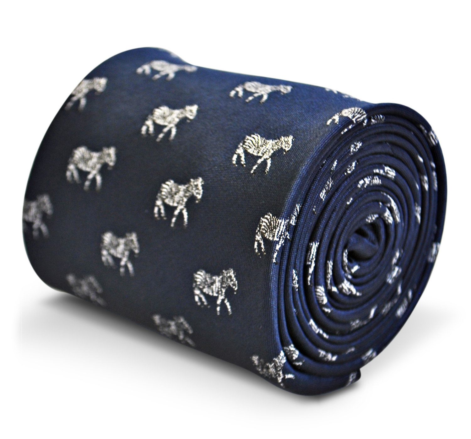 navy blue tie with zebra embroidered design with signature floral design to the