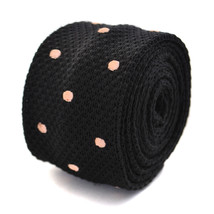 black knitted tie with light pink spots by Frederick Thomas FT2051