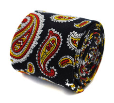 skinny black, red and yellow floral paisley cotton tie by Frederick Thomas FT204