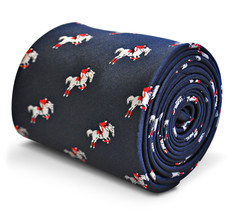 navy tie with show jumping horse pattern embroidered design with signature flora