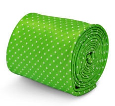 lime green tie with white pin spots and signature floral design to rear by Frede