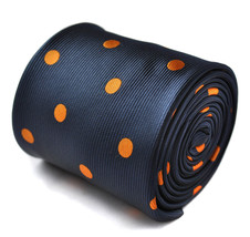 navy and orange polka spot tie with signature floral design to the rear by Frede