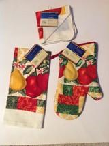 Kitchen Linen Set New 3 Pc Oven Mitt Towel Dish Cloth Apple Pear - $12.59