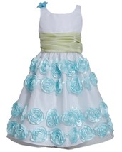 Big Girl Tween 7-16 Mint-Blue White Flutter Bonaz Rosette Border Dress